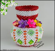 3d origami flower vase 3d origami vase with flowers 3d origami origami 3d flower vase tutorial mikaglospot mightylinksfo