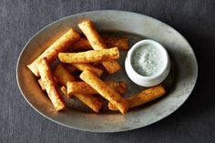 Chickpea Fries with Yogurt Dipping Sauce///Author Notes: These Fries are made with Chickpea Flour. They are super crispy on the outside and tender on the inside. The dipping sauce is a perfect combination for these tasty fries. (less) - Justforlicks Chickpea Fries, Vegetarian Recipes, Cooking Recipes, Chickpea Recipes, Food 52, Sauce Recipes, Granola, Brunch, Food And Drink