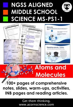 Atoms and Molecules Middle School Science NGSS Aligned Pack - Top-Trends 6th Grade Science, Science Curriculum, Elementary Science, Science Classroom, Science Education, Science Activities, Science Lessons, Science Biology, Science Fun
