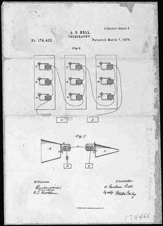 Alexander Graham Bell's telephone patent drawing  March 7, 1876.