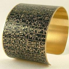 Book of the Dead Brass Cuff Bracelet - Heiroglyphic Egyptian Jewelry