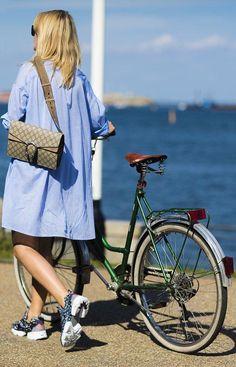 Long blue shirt dress + couture sneakers
