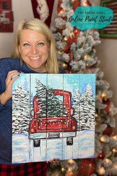 Join Now at The Social Easel Online Paint Studio Christmas Truck Painting Challenge! Join Now at The Social Easel Online Paint Studio The Social Easel Online Paint Studio Fall Canvas Painting, Christmas Paintings On Canvas, Acrylic Painting For Beginners, Acrylic Painting Lessons, Simple Acrylic Paintings, Winter Painting, Painting Studio, Acrylic Painting Tutorials, Diy Painting