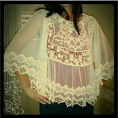 🎀🎉HOST PICK 🎉🎀 Lace Bell sleeve batwing top White Lace Bell sleeve batwing top Size small, loose fit Beautiful sheer mesh and lace top  Photographed wearing red camisole which is not included Brand new retail merchandise boutique item Tops Blouses
