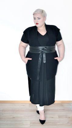 Tunic Shirt + Obi Belt - ASOS Curve / Sleeveless Jacket - Mango Violeta / Denim - Dorothy Perkins / Shoes - ASOS via Dressing Outside the Box