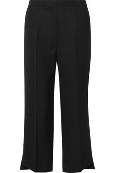 Black wool-twill Concealed hook, button and zip fastening at front 100% wool; pocket lining: 65% polyester, 35% cotton Dry clean Imported