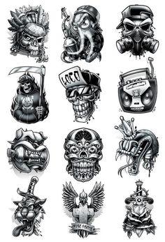 Black and Grey-Temporary Tattoo Set