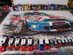 The artist Ian Cook made this masterpiece of art without touch any brush, instead, he used the remote control cars on the picture to perform the image