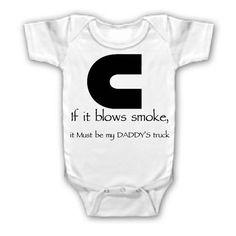 My kid will wear this except it'd be duramax and my MOMMY instead of cummins and Daddy Cummins Girl, Cummins Diesel, Diesel Trucks, Dodge Cummins, Boy Onesie, Onesies, People Fall In Love, Country Shirts, Baby Love