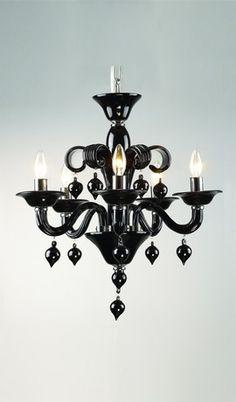 Venetian Glass Classica Black Contemporary Italian Chandelier 5 Lights Mini