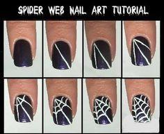 Spider web nail art tutorial black white halloween