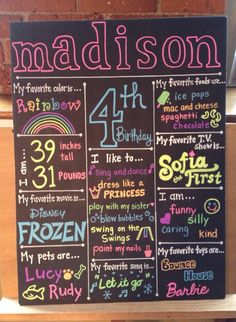 Birthday Stats Chalkboard inspired Sign by SparklingPearl on Etsy, $35.00