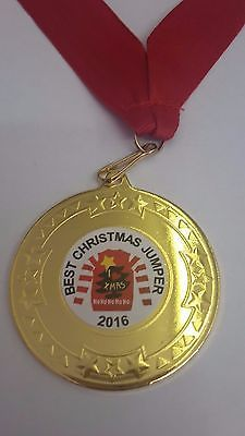 BEST CHRISTMAS JUMPER COMPETITION MEDAL TROPHY AWARD PERSONALISED FOR FREE