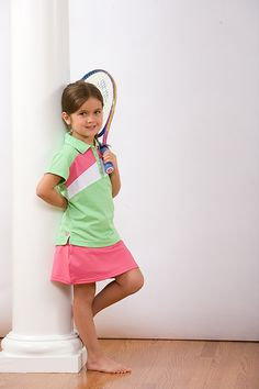 Girl's poly mesh performance golf or tennis polo shirt and coordinating solid pink skort.  www.GrowWithLoveBoutique.com  $44.00