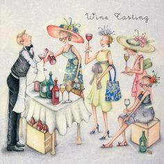 "Cards ""Wine Tasting"" - Berni Parker Designs ღ✟ Crazy Friends, Art Impressions, Jolie Photo, Illustrations, Birthday Greeting Cards, Card Birthday, Happy Birthday, Funny Cards, Cute Illustration"