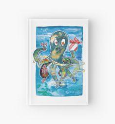Der kleine bunt bekleckste Kraken serviert ein Geschenk und Zuckerstangen! • Also buy this artwork on stationery, phone cases, home decor und more. Cooles Notizbuch in Liniert, kariert oder Blanko. #Design #madeingermany