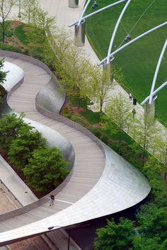 #landarch #urbandesign BP Pedestrian Bridge in Millenium Park in Chicago | Frank Gehry + SOM