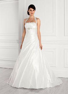 Schichte Neckholder Taft A Line Hochzeitskleider EHS91306001