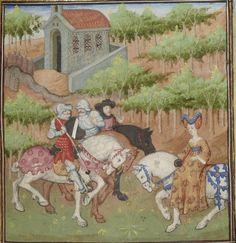 Lady riding sidesaddle. From Guiron le Courtois, c. 1420 (Paris). BNF Français 356, fol. 161r. Bibliothèque nationale, Paris.