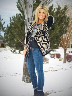 Tribal sweater, rock t, jeans, belt, short boots