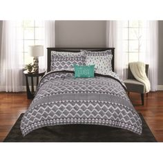 Mainstays Linen Tribal Diamond Bed in a Bag Coordinating Bedding Set
