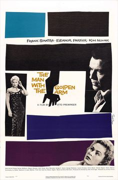 Saul Bass movie poster. 'The Man with the Golden Arm' starring Frank Sinatra, by Alfred Hitchcock.