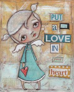 "Original Mixed Media Nursery Art painting "" A Little Love"" by DUDADAZE Artwork ©dianeduda/dudadaze Words Jackie Deshannon"