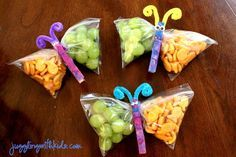 Use clothespins to turn snack bags into butterflies. | 19 Easy And Adorable Animal Snacks To Make With Kids