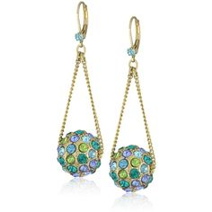 """Betsey Johnson """"Iconic Blue Lagoon"""" Crystal Fireball Chandelier... ($40) ❤ liked on Polyvore featuring jewelry, earrings, betsey johnson, betsey johnson earrings, betsey johnson jewellery, chandelier jewelry and crystal jewelry"""