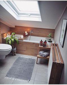 Beautiful Small Bathroom Makeover Ideas for Inspiration Loft Bathroom, Upstairs Bathrooms, Bad Inspiration, Bathroom Inspiration, Bathroom Ideas, Interior Design Living Room, Living Room Designs, Interior Livingroom, Beautiful Small Bathrooms