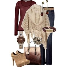 Bring on the fall in HAUTE HIPPIE Hand Coiled Poncho, SEVEN FOR ALL MANKIND NY Dark Xl Bootcut Jeans, AMERICAN VINTAGE Grape Long Sleeve  Shirt, Luichiny Pebble Suede ankle boot, Modalu Henley Fade Leather Tote & a Fossil Watch
