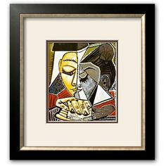Art.com ''Tete d'une Femme Lisant'' Framed Art Print by Pablo Picasso,... ($142) ❤ liked on Polyvore featuring home, home decor, wall art, pictures, allegro bronze, framed wall art, bronze wall art, white home decor, handmade home decor and vertical wall art