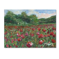 "Trademark Art 'Poppy Field Wood' by Manor Shadian Painting Print on Wrapped Canvas Size: 18"" H x 24"" W x 2"" D"