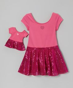 Take a look at this Fuchsia Heart Sequin Skirted Leotard & Doll Outfit - Girls by Dollie & Me on #zulily today!