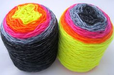 Sock Yarn - Hand Dyed Gradient Sock Yarn, Hand Dyed Yarn, black, gray, neon yellow, orange, pink - fingering weight, superwash yarn, 460 yds