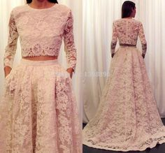 High Quality 2016 sexy Lace Two Pieces evening Dresses Long sleeves Prom Dresses Formal Gown vestidos de festa size available()