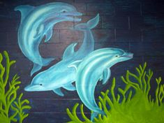 dancing dolphins, wall mural @ special education program room, VSS. 1.5 x 2.2 m