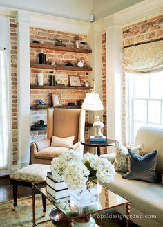 Exposed brick+ open shelving by Opal Design Group