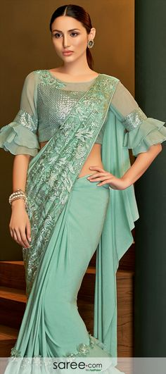 Mint Green Designer Blouse with Bell Sleeves New Saree Blouse Designs, Netted Blouse Designs, Blouse Designs High Neck, Blouse Designs Catalogue, Simple Blouse Designs, Stylish Blouse Design, Latest Blouse Designs, Indian Blouse Designs, Sleeves Designs For Dresses