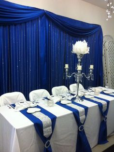 navy blue striped full-length wedding tablecloth for sweetheart table - Google Search