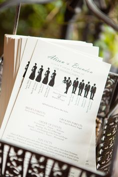 Program with wedding party silhouettes | David De Dios Photography | villasiena.cc
