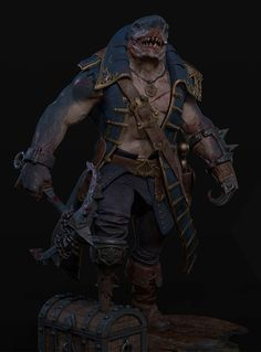 45 Pirate Character Designs in a Diverse Range of Styles Shark Man, Fantasy Character Design, Character Art, Character Concept, Creature Concept Art, Creature Design, Pirate Art, Pirate Crafts, Pirate Ships