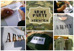Greatfun4kids: Army Party Prep - Easy Army T Shirt Stencil Tutorial
