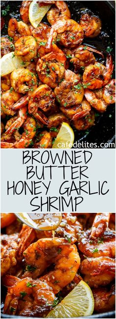 Browned Butter Honey Garlic Shrimp feels like a gourmet shrimp meal, with half o. - Browned Butter Honey Garlic Shrimp feels like a gourmet shrimp meal, with half of the effort, maxim - Fish Recipes, Seafood Recipes, Gourmet Recipes, Cooking Recipes, Healthy Recipes, Garlic Shrimp Recipes, Garlic Honey Shrimp, Recipes With Cooked Shrimp, Sauteed Garlic Shrimp