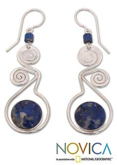 Lapis lazuli dangle earrings, 'Pendulum of Time' : The Animal Rescue Site