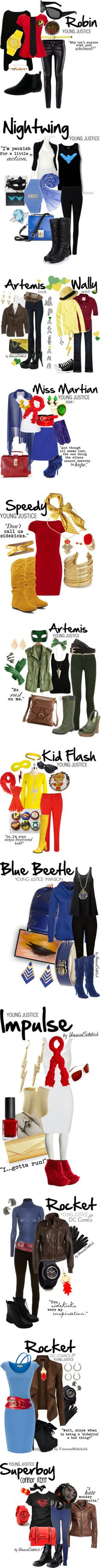"""Young Justice"" by unusualsidekick on Polyvore - AWESOME! Every day cosplay!"