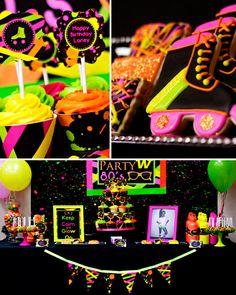 Neon Party  80  partido del patín  imprimible personalizado