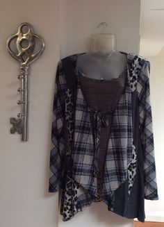Our unique patterned blue and grey all in one top and waterfall cardigan £42.95 - FREE DELIVERY!