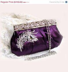 wedding clutch, bridesmaid clutch, Purple clutch, Vintage inspired clutch, bridesmaid evening bag. $77.00, via Etsy.