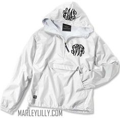 Monogrammed White Pullover Rain Jacket